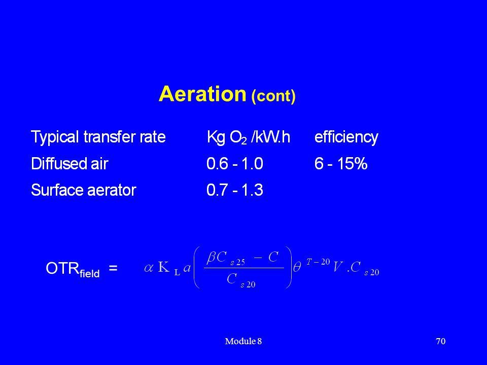 Module 870 Aeration (cont) OTR field =
