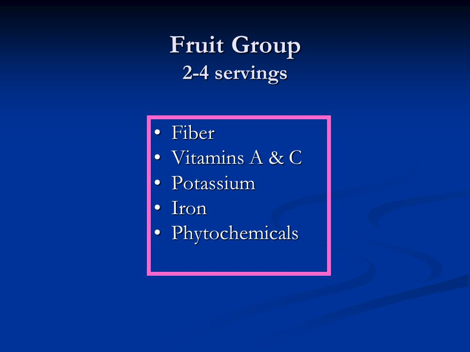 Fruit Group 2-4 servings FiberFiber Vitamins A & CVitamins A & C PotassiumPotassium IronIron PhytochemicalsPhytochemicals