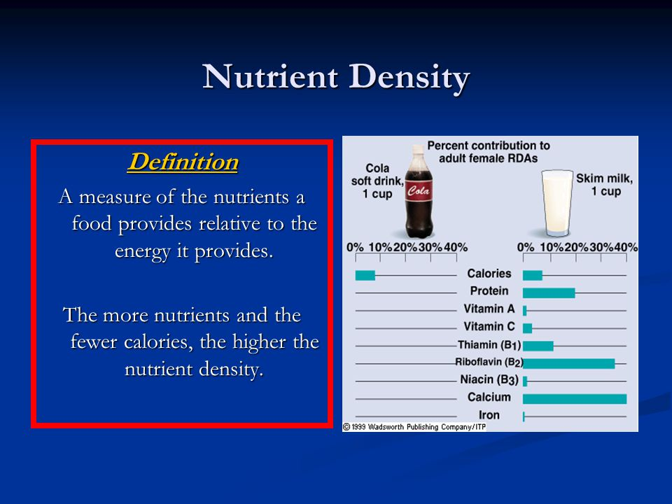 Nutrient Density Definition A measure of the nutrients a food provides relative to the energy it provides.