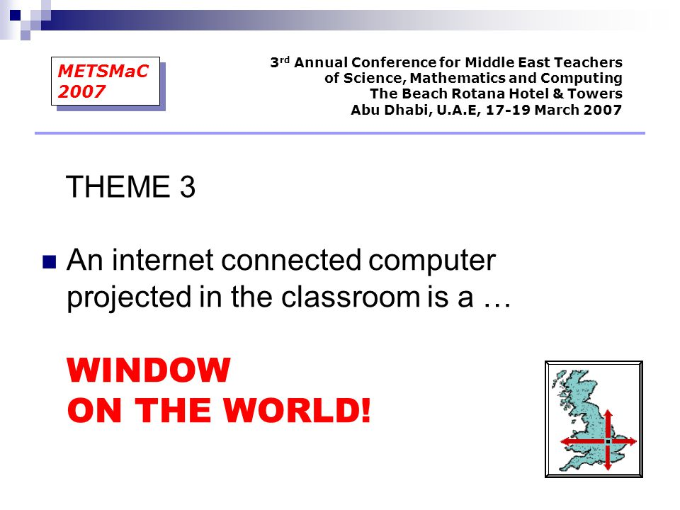 An internet connected computer projected in the classroom is a … WINDOW ON THE WORLD! 3 rd Annual Conference for Middle East Teachers of Science, Math