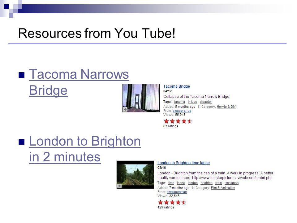 Tacoma Narrows Bridge Tacoma Narrows Bridge London to Brighton in 2 minutes London to Brighton in 2 minutes