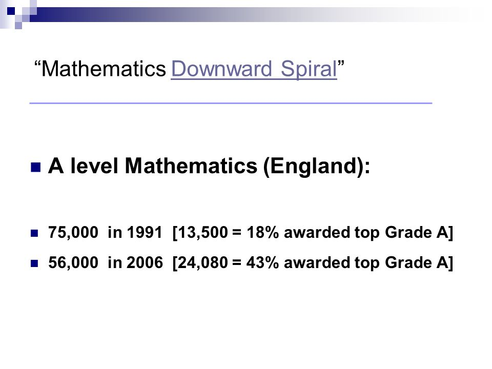 """A level Mathematics (England): 75,000 in 1991 [13,500 = 18% awarded top Grade A] 56,000 in 2006 [24,080 = 43% awarded top Grade A] """"Mathematics Downwa"""