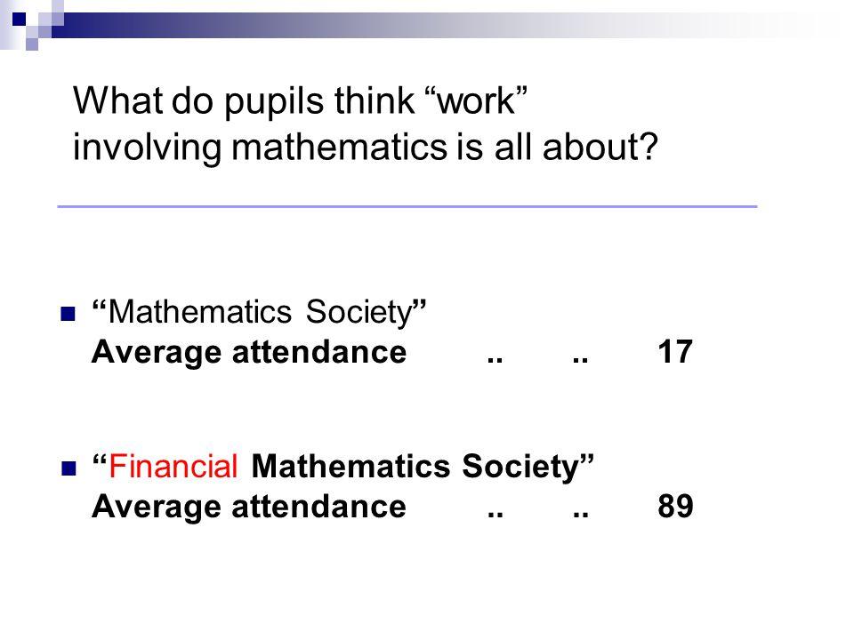 Mathematics Society Average attendance....17 Financial Mathematics Society Average attendance....89 What do pupils think work involving mathematics is all about
