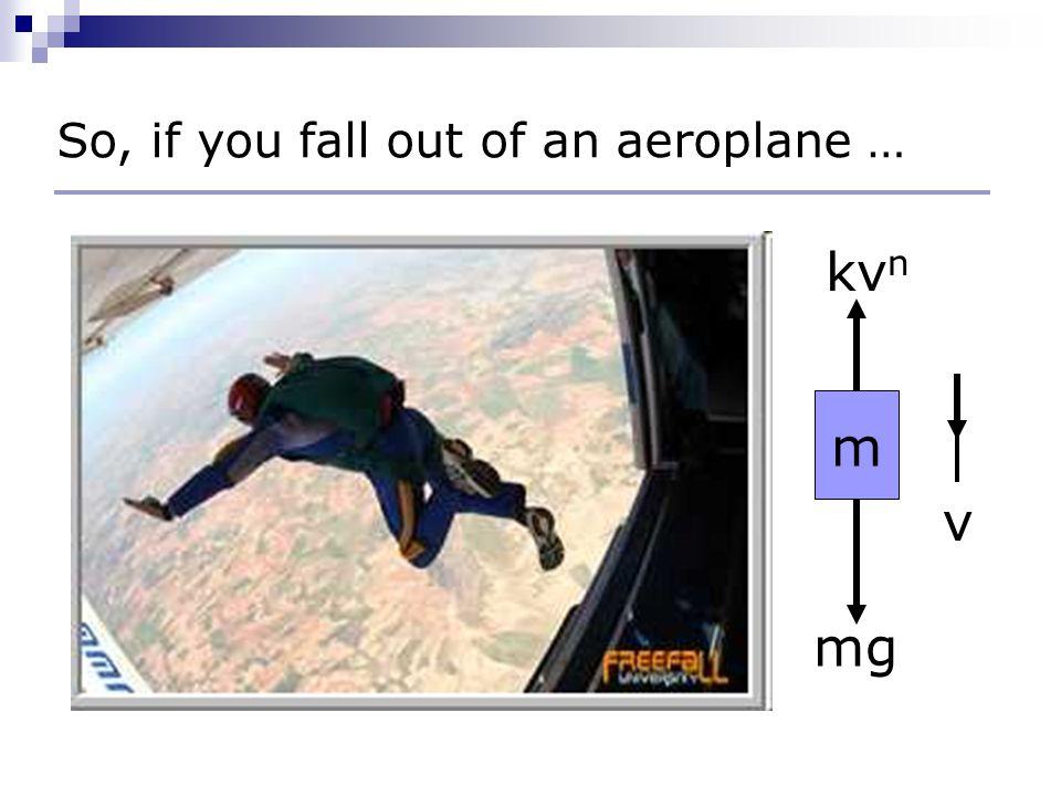 mg kv n m v So, if you fall out of an aeroplane …
