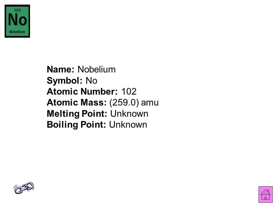 Name: Nobelium Symbol: No Atomic Number: 102 Atomic Mass: (259.0) amu Melting Point: Unknown Boiling Point: Unknown