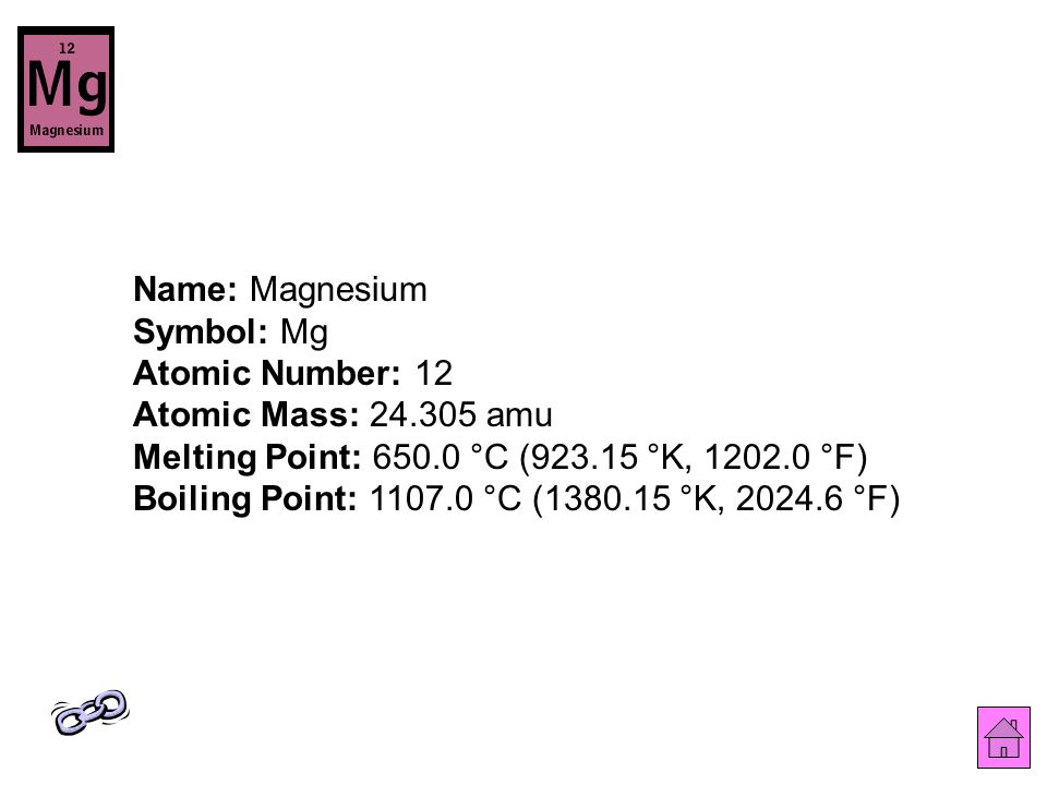 Name: Magnesium Symbol: Mg Atomic Number: 12 Atomic Mass: 24.305 amu Melting Point: 650.0 °C (923.15 °K, 1202.0 °F) Boiling Point: 1107.0 °C (1380.15 °K, 2024.6 °F)
