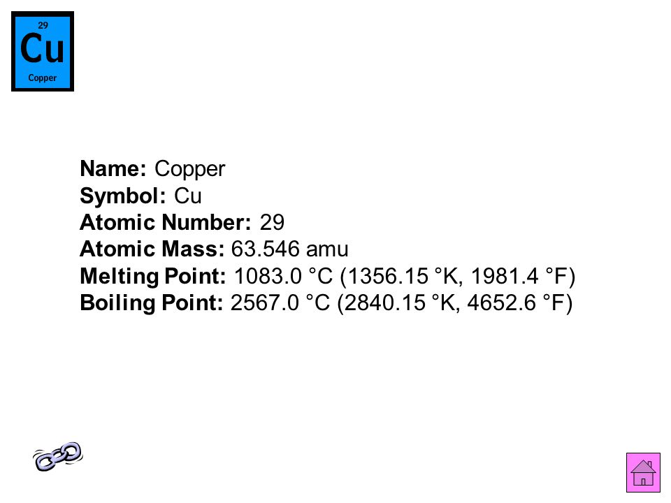 Name: Copper Symbol: Cu Atomic Number: 29 Atomic Mass: 63.546 amu Melting Point: 1083.0 °C (1356.15 °K, 1981.4 °F) Boiling Point: 2567.0 °C (2840.15 °K, 4652.6 °F)