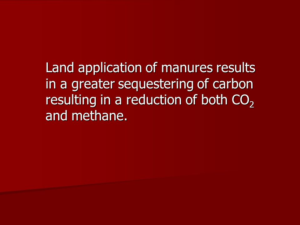 Land application of manures results in a greater sequestering of carbon resulting in a reduction of both CO 2 and methane.