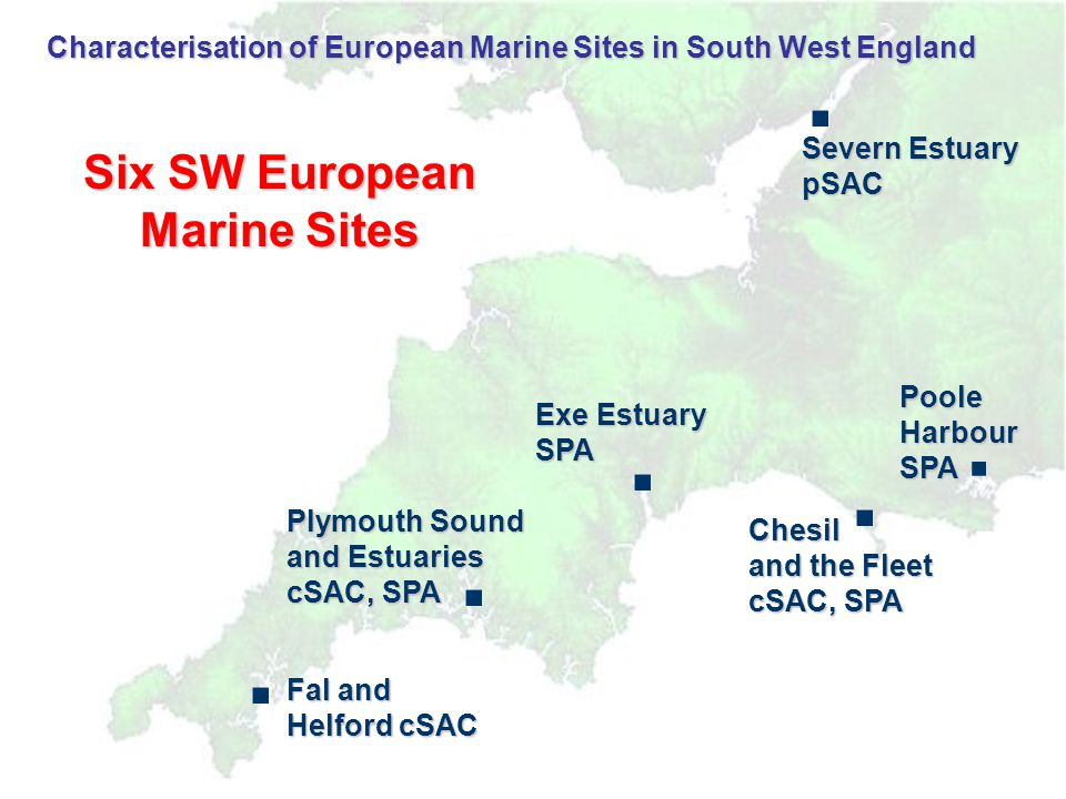 (FSA/SEPA) Severn Estuary Installations which could potentially impinge on water quality in the pSAC: 3 nuclear power plants (Berkley and Oldbury, Hinkley Point) Collection of smaller discharges (hospitals and research establishments) Monitoring low levels in Berkley/ Oldbury area (mainly Cs) Most transuranics of little concern in pSAC Occasional elevated levels of 3 H in water and shrimp (Hinkley) Anomaly for (organic) tritium and some 14 C near CardiffRadionuclides (Remedial action initiated at source to reduce future discharges.