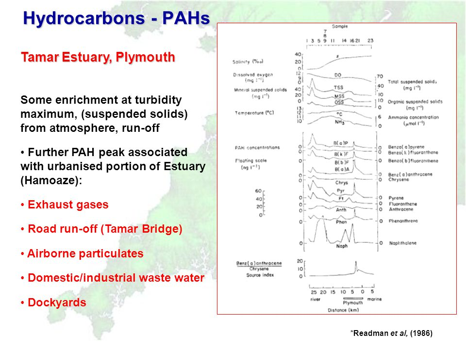 Hydrocarbons - PAHs 1995-6 (now declining?) Discharge concern for PAH in estuarine water focused on Lydney/Purton (paper mill and O/F sewer) Elsewhere