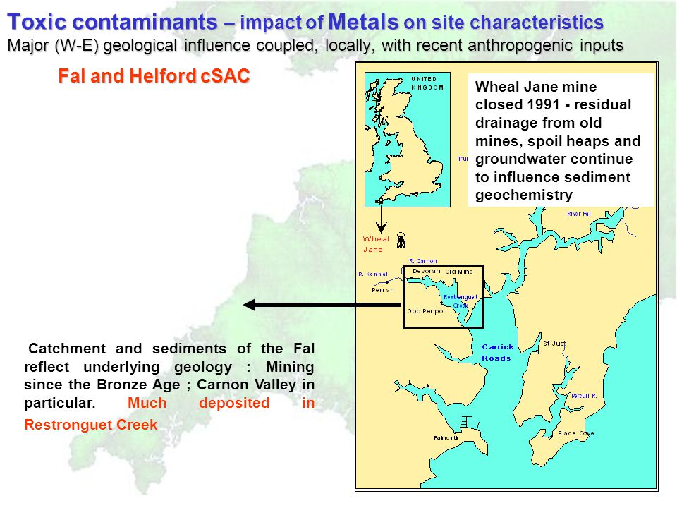 Catchment and sediments of the Fal reflect underlying geology : Mining since the Bronze Age ; Carnon Valley in particular.