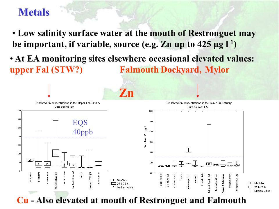  Zn EQS = 40 µg/l Elevated Zn levels Lake Pier and Lytchett Bay: possible sources antifouling paints and sacrificial anodes (Bird et al., have shown elevated levels in marina waters and sediments) Metals Data source: EA