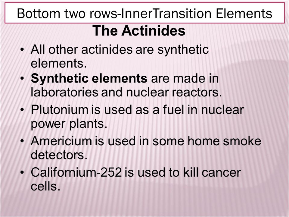 The Actinides All other actinides are synthetic elements.