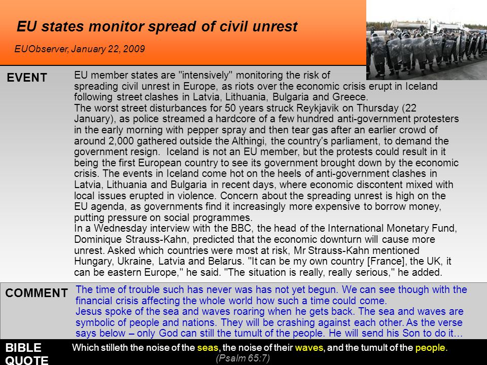 EU states monitor spread of civil unrest EU member states are