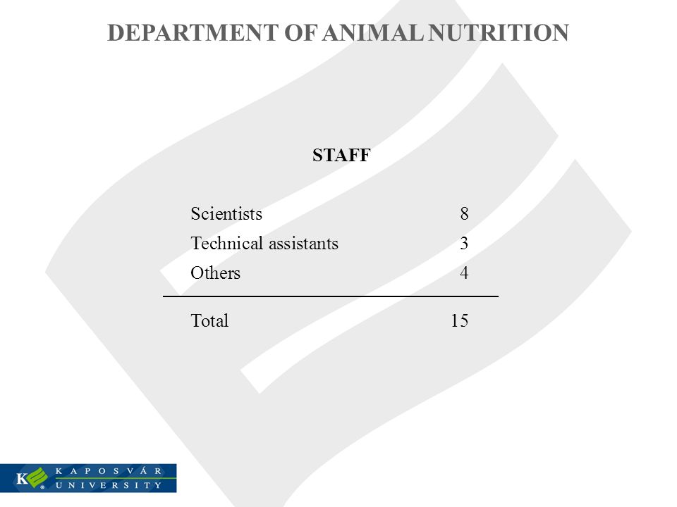 STAFF Scientists8 Technical assistants3 Others4 Total15 DEPARTMENT OF ANIMAL NUTRITION