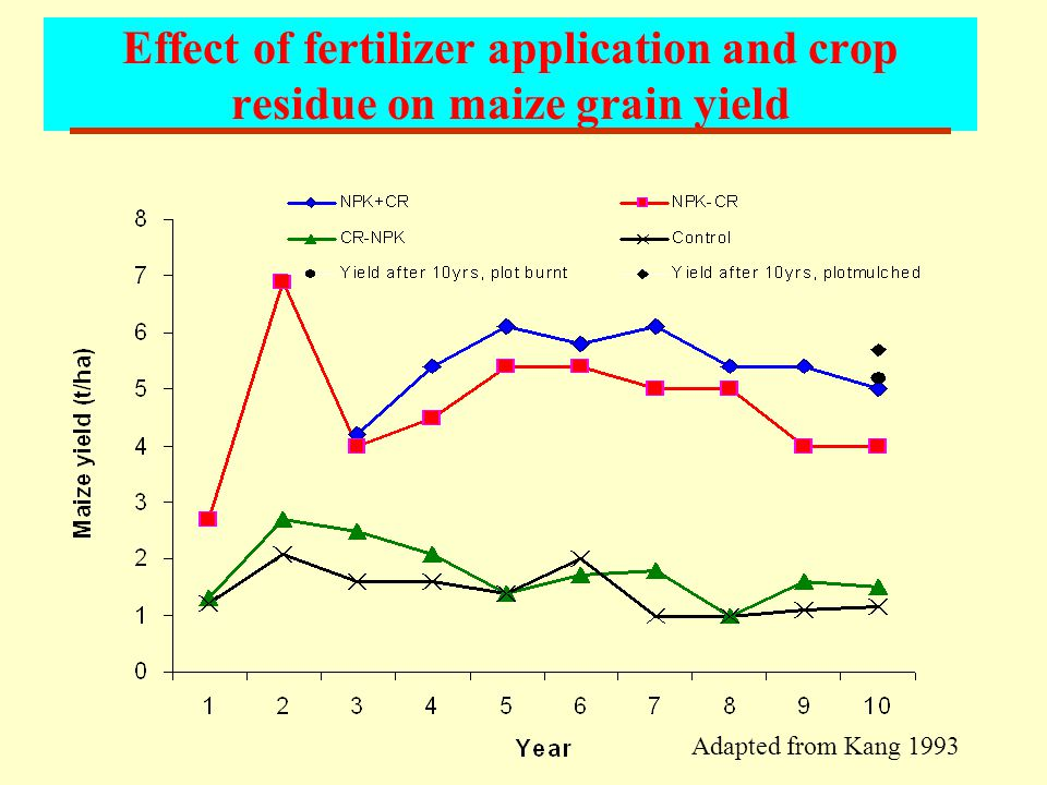 Effect of fertilizer application and crop residue on maize grain yield Adapted from Kang 1993