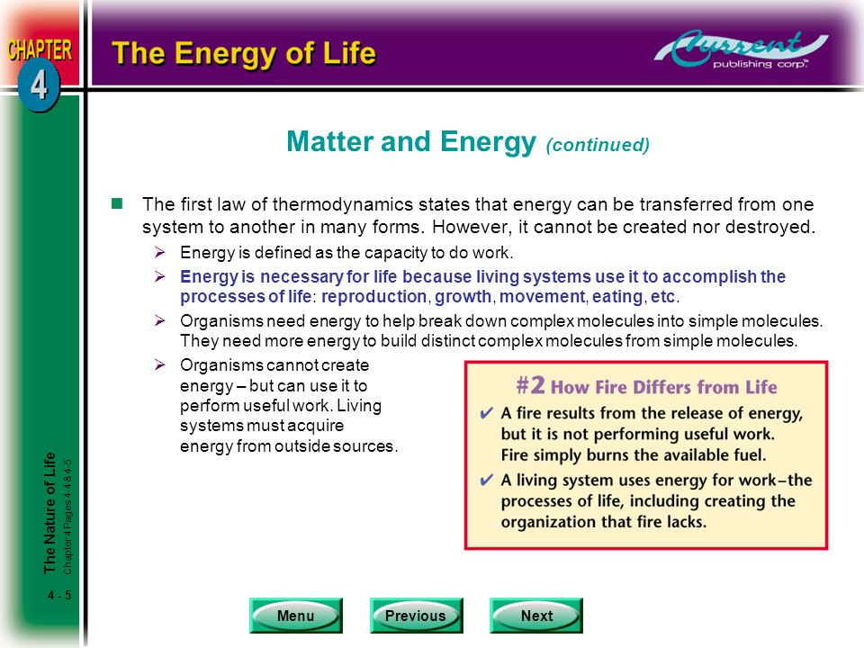 MenuPreviousNext 4 - 5 Matter and Energy (continued) nThe first law of thermodynamics states that energy can be transferred from one system to another