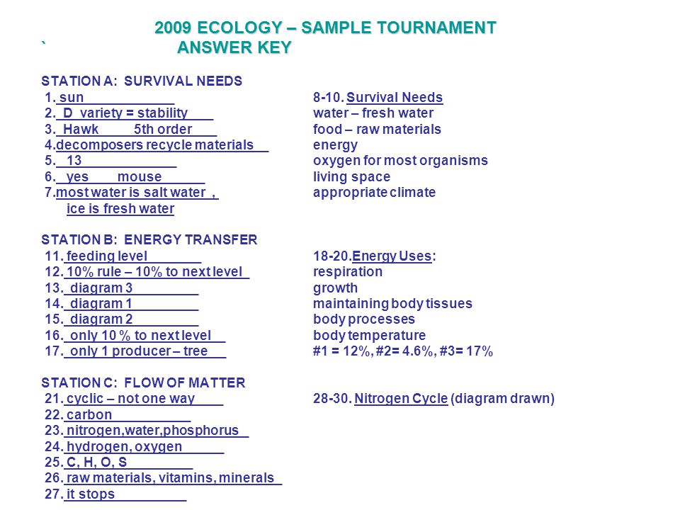 2009 ECOLOGY – SAMPLE TOURNAMENT `ANSWER KEY STATION A: SURVIVAL NEEDS 1. sun _8-10. Survival Needs 2. D variety = stability __water – fresh water 3.