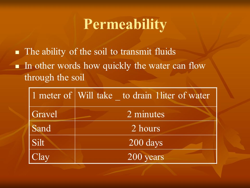 Permeability The ability of the soil to transmit fluids In other words how quickly the water can flow through the soil 1 meter ofWill take _ to drain