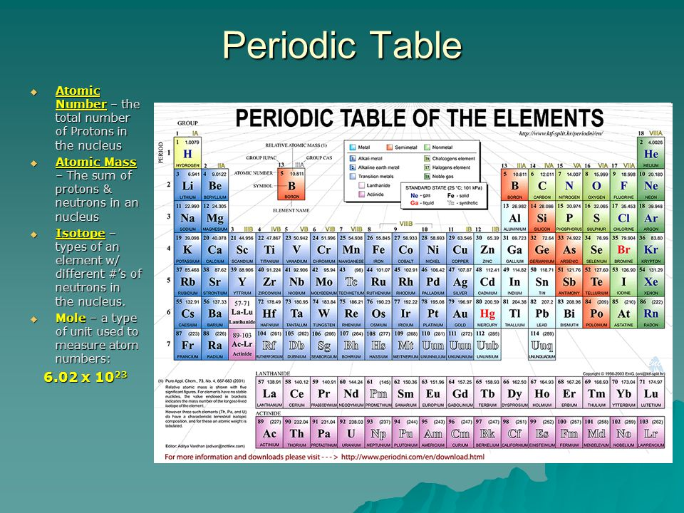 Periodic Table  Atomic Number – the total number of Protons in the nucleus  Atomic Mass – The sum of protons & neutrons in an nucleus  Isotope – types of an element w/ different #'s of neutrons in the nucleus.