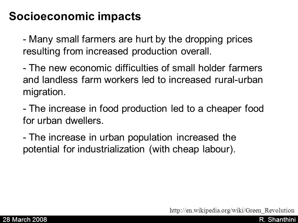 28 March 2008 R. Shanthini Socioeconomic impacts - Many small farmers are hurt by the dropping prices resulting from increased production overall. - T
