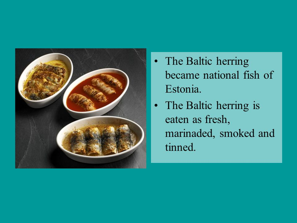 The Baltic herring became national fish of Estonia. The Baltic herring is eaten as fresh, marinaded, smoked and tinned.