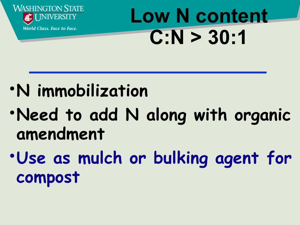 Low N content C:N > 30:1 N immobilization Need to add N along with organic amendment Use as mulch or bulking agent for compost