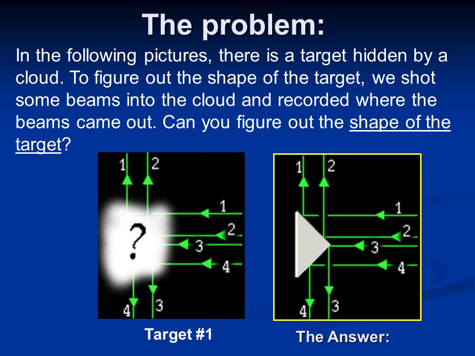 The problem: In the following pictures, there is a target hidden by a cloud.