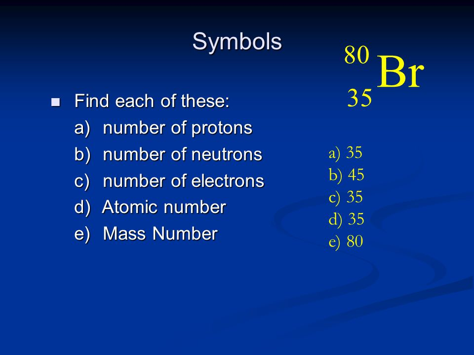 Symbols n Find each of these: a) number of protons b) number of neutrons c) number of electrons d) Atomic number e) Mass Number Br 80 35 a) 35 b) 45 c) 35 d) 35 e) 80