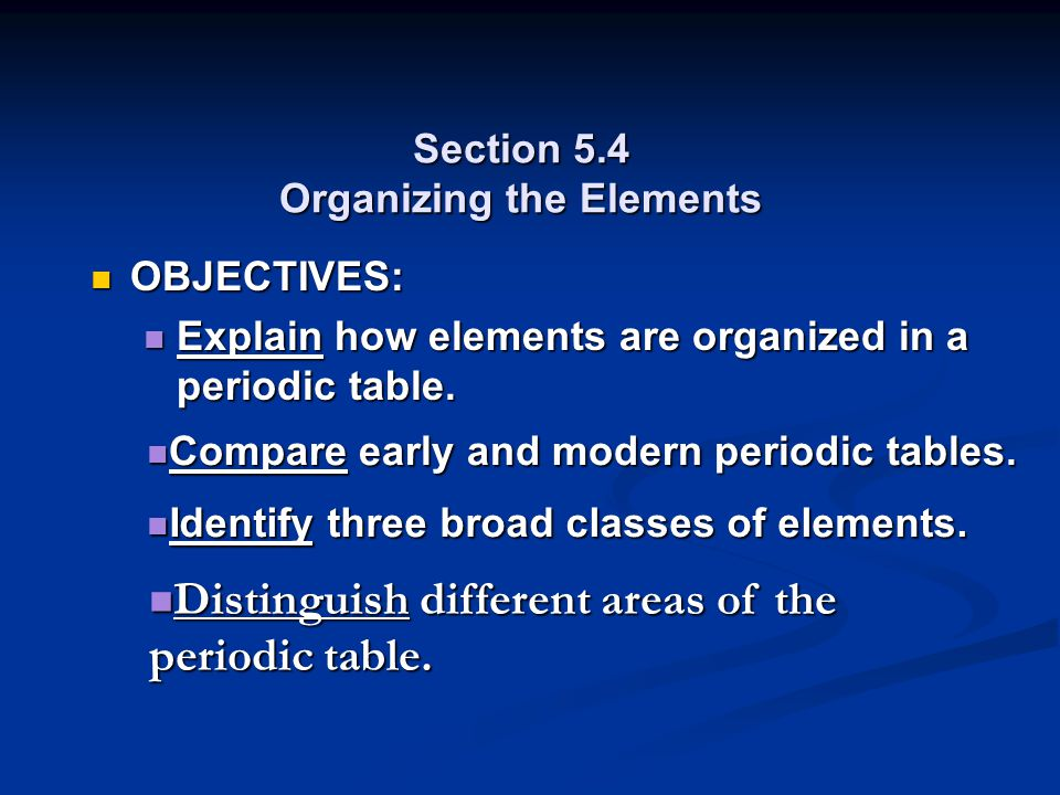 Section 5.4 Organizing the Elements OBJECTIVES: OBJECTIVES: Explain how elements are organized in a periodic table. Explain how elements are organized