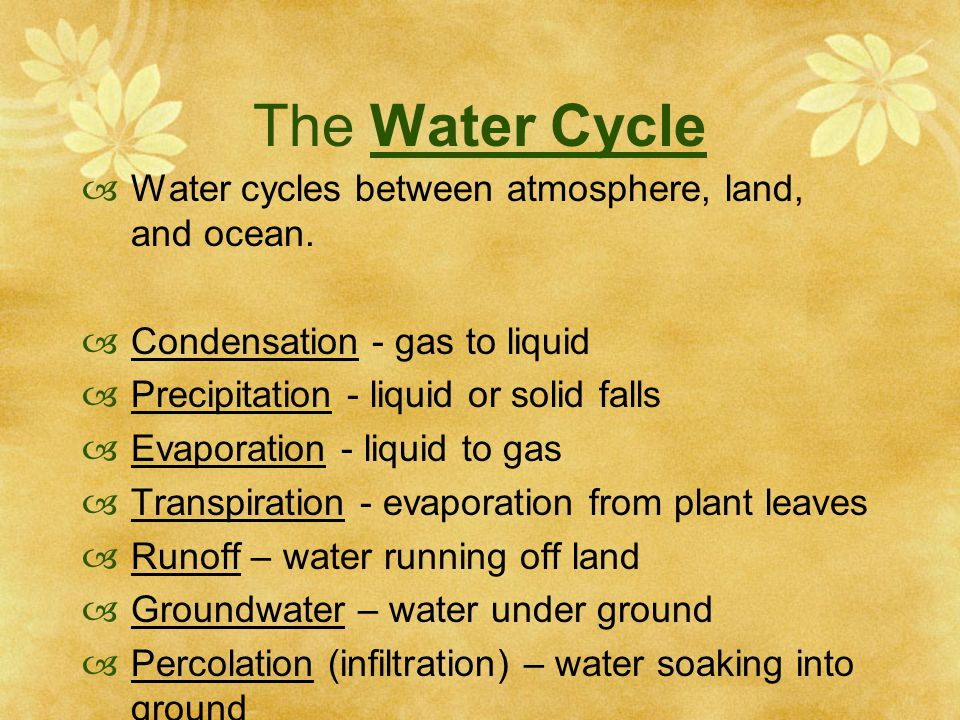 The Water Cycle  Water cycles between atmosphere, land, and ocean.