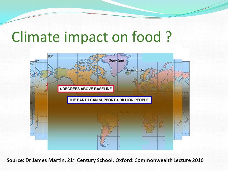 Climate impact on food .