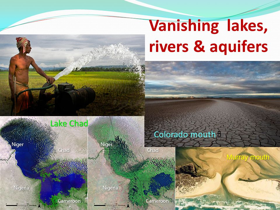 Vanishing lakes, rivers & aquifers Colorado mouth 5 Lake Chad Murray mouth