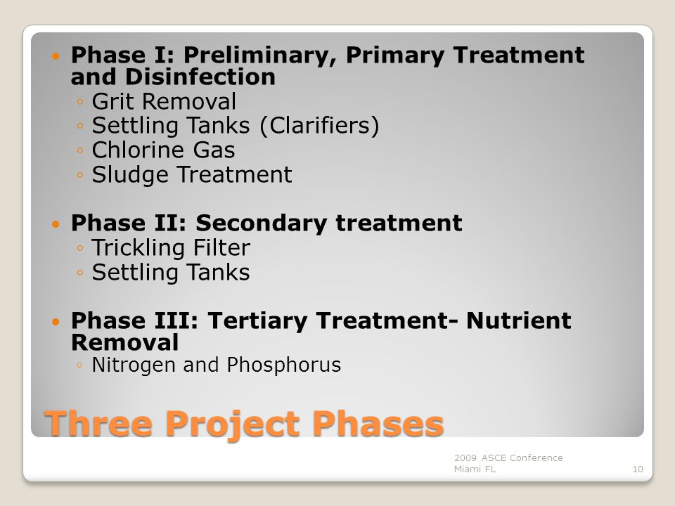Three Project Phases Phase I: Preliminary, Primary Treatment and Disinfection ◦Grit Removal ◦Settling Tanks (Clarifiers) ◦Chlorine Gas ◦Sludge Treatment Phase II: Secondary treatment ◦Trickling Filter ◦Settling Tanks Phase III: Tertiary Treatment- Nutrient Removal ◦Nitrogen and Phosphorus 10 2009 ASCE Conference Miami FL