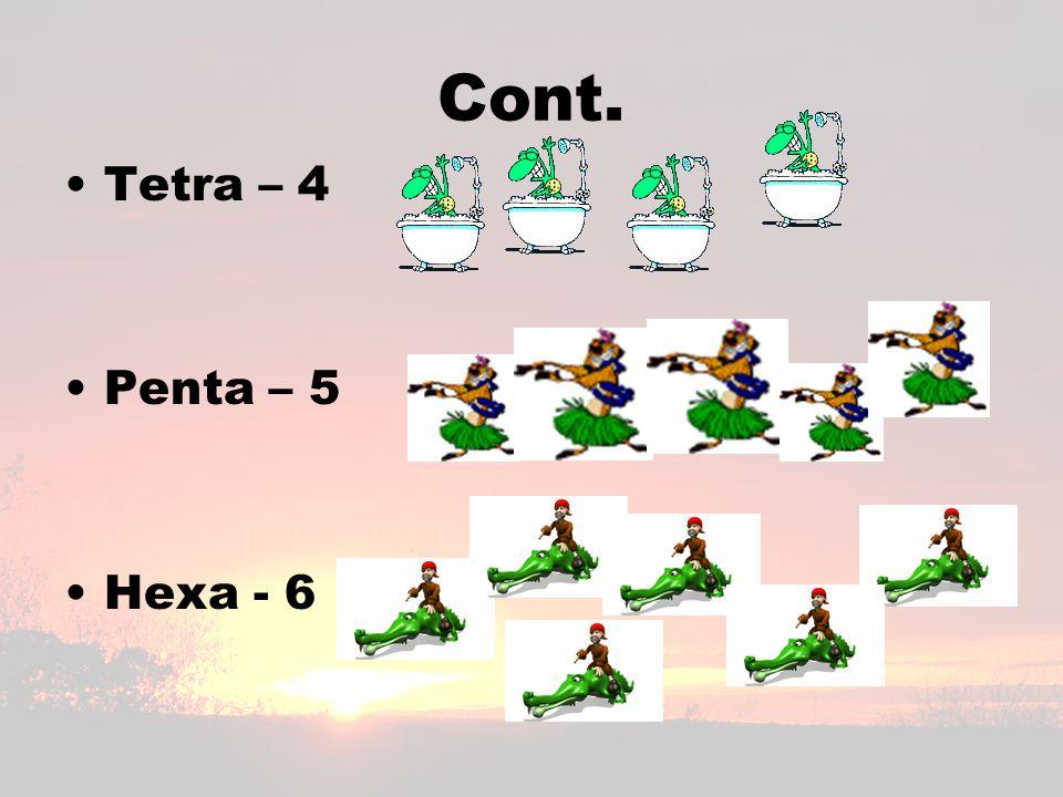 Cont. Tetra – 4 Penta – 5 Hexa - 6