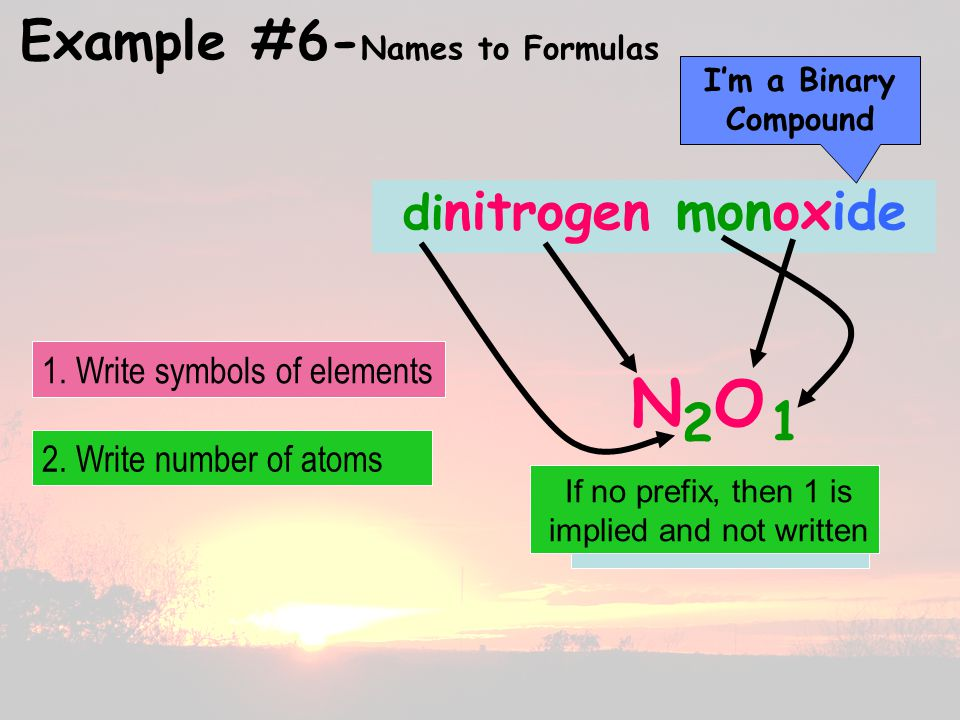 Example #6- Names to Formulas di nitrogen monoxide N O 2 1 I'm a Binary Compound 2.