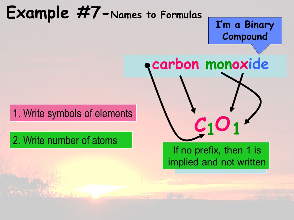 Example #7- Names to Formulas carbon monoxide C O 1 1 I'm a Binary Compound 2.