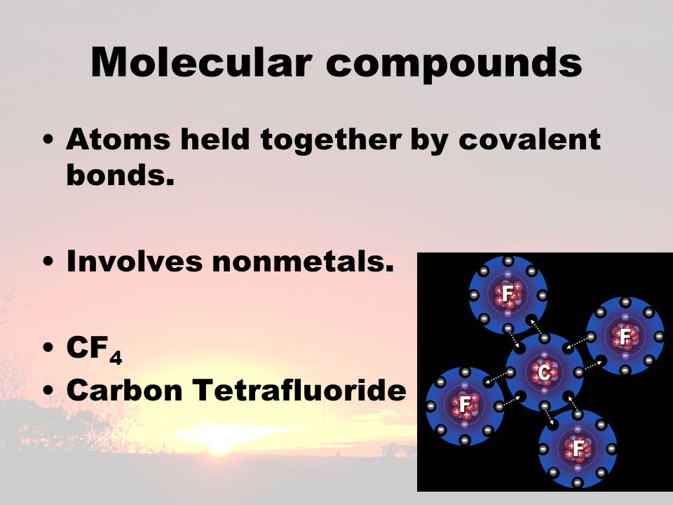 Molecular compounds Atoms held together by covalent bonds.