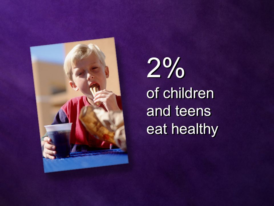2% of children and teens eat healthy 2% of children and teens eat healthy