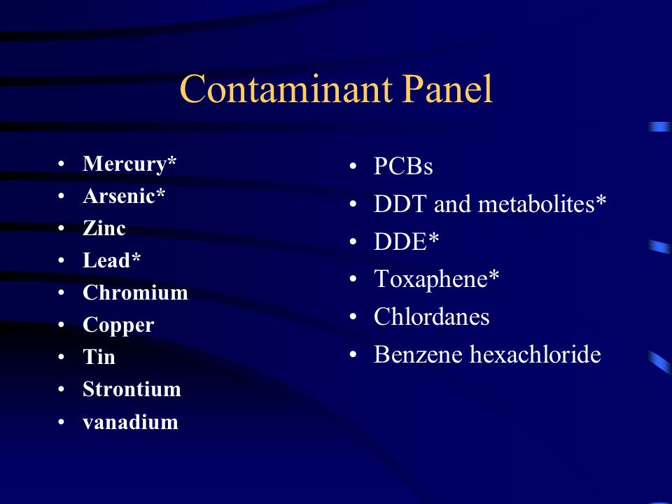 Contaminant Panel Mercury* Arsenic* Zinc Lead* Chromium Copper Tin Strontium vanadium PCBs DDT and metabolites* DDE* Toxaphene* Chlordanes Benzene hexachloride