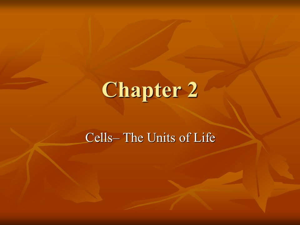 Chapter 2 Cells– The Units of Life