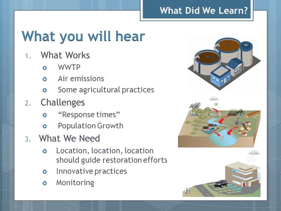 1. What Works  WWTP  Air emissions  Some agricultural practices 2.