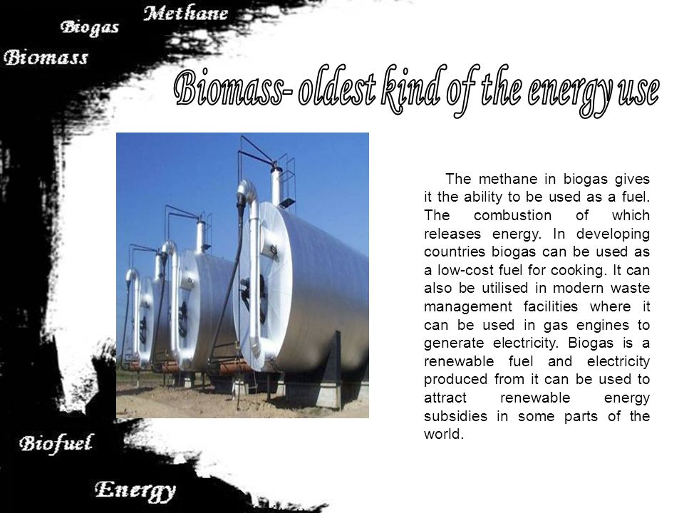 The methane in biogas gives it the ability to be used as a fuel.