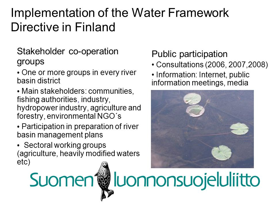 Implementation of the Water Framework Directive in Finland Stakeholder co-operation groups One or more groups in every river basin district Main stakeholders: communities, fishing authorities, industry, hydropower industry, agriculture and forestry, environmental NGO´s Participation in preparation of river basin management plans Sectoral working groups (agriculture, heavily modified waters etc)‏ Public participation Consultations (2006, 2007,2008)‏ Information: Internet, public information meetings, media