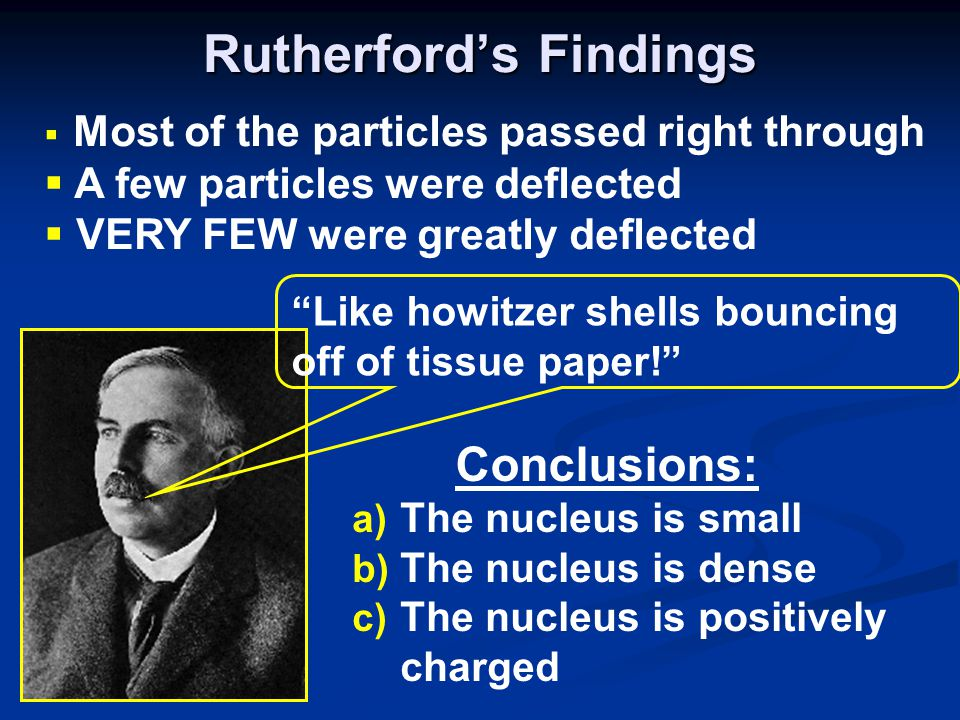 Rutherford's Findings a) The nucleus is small b) The nucleus is dense c) The nucleus is positively charged  Most of the particles passed right through  A few particles were deflected  VERY FEW were greatly deflected Like howitzer shells bouncing off of tissue paper! Conclusions: