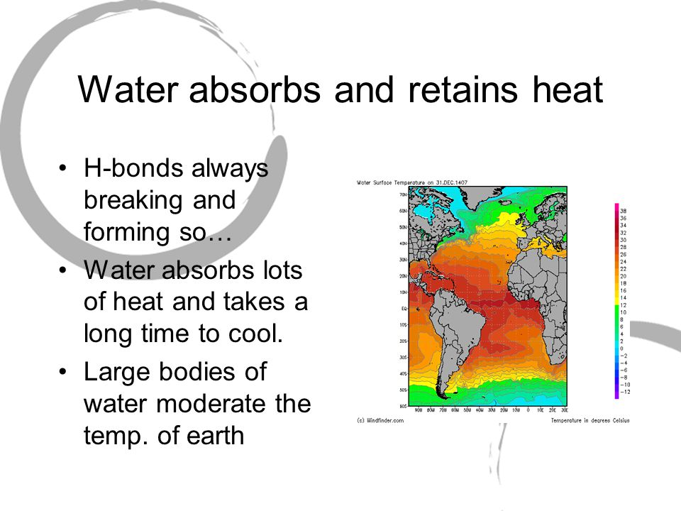 Water absorbs and retains heat H-bonds always breaking and forming so… Water absorbs lots of heat and takes a long time to cool.