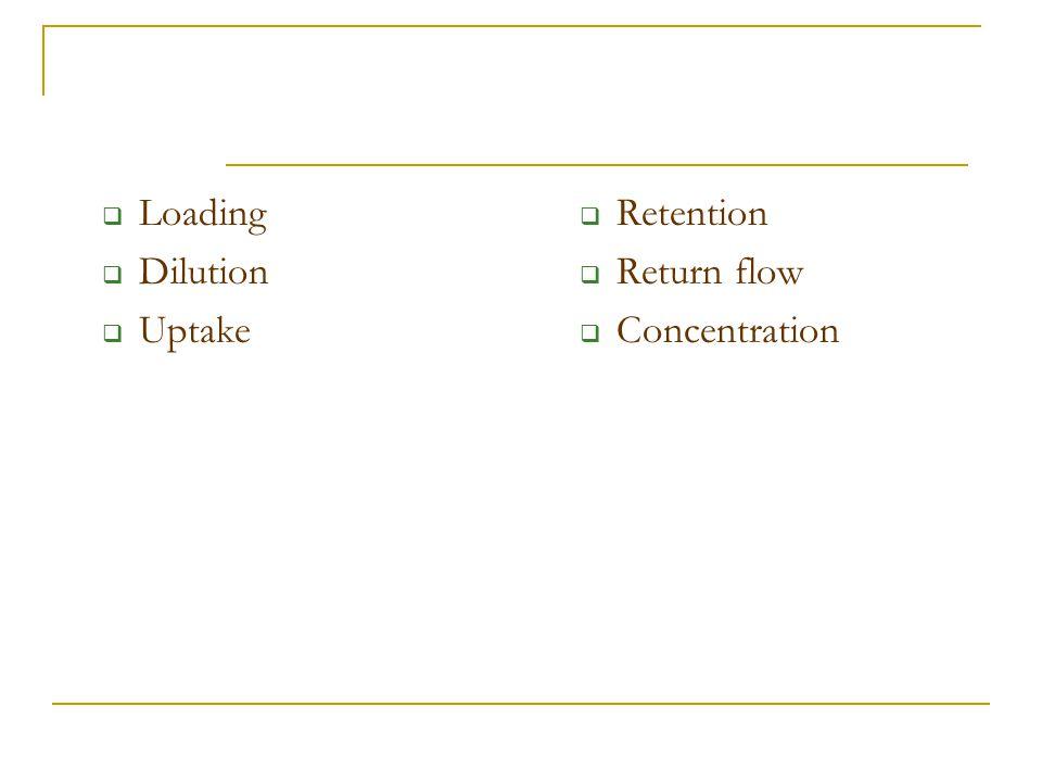  Loading  Dilution  Uptake  Retention  Return flow  Concentration