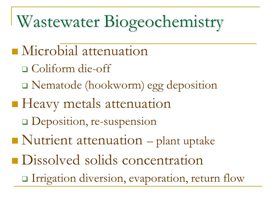 Wastewater Biogeochemistry Microbial attenuation  Coliform die-off  Nematode (hookworm) egg deposition Heavy metals attenuation  Deposition, re-sus