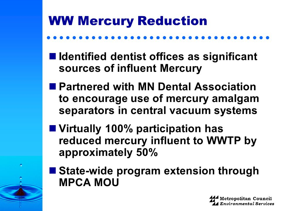 Metropolitan Council Environmental Services WW Mercury Reduction Identified dentist offices as significant sources of influent Mercury Partnered with MN Dental Association to encourage use of mercury amalgam separators in central vacuum systems Virtually 100% participation has reduced mercury influent to WWTP by approximately 50% State-wide program extension through MPCA MOU