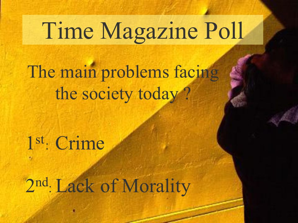 Time Magazine Poll 1 st : Crime 2 nd : Lack of Morality The main problems facing the society today